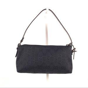Gucci Black Canvas Monogram GG Shoulder Mini Bag